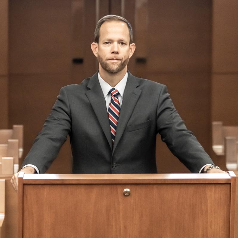 Attorney Mark Jackson Courtroom Experience - Podium